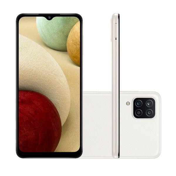 Smartphone SAMSUNG Galaxy A12 64GB 4G Wi-Fi Tela 6.5'' Dual Chip 4GB RAM Câmera Quádrupla + Selfie 8MP - Branco 1un