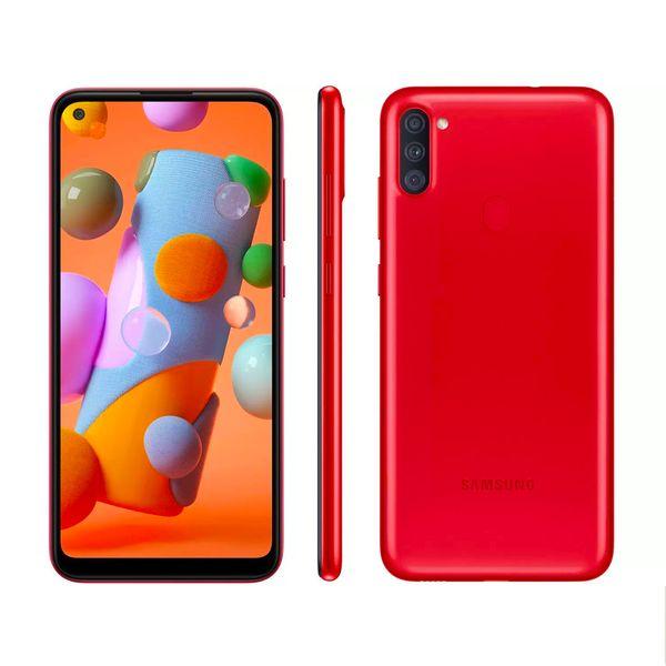 Smartphone SAMSUNG Galaxy A11 Vermelho 64GB, Câmera Tripla,Tela Infinita de 6.4''