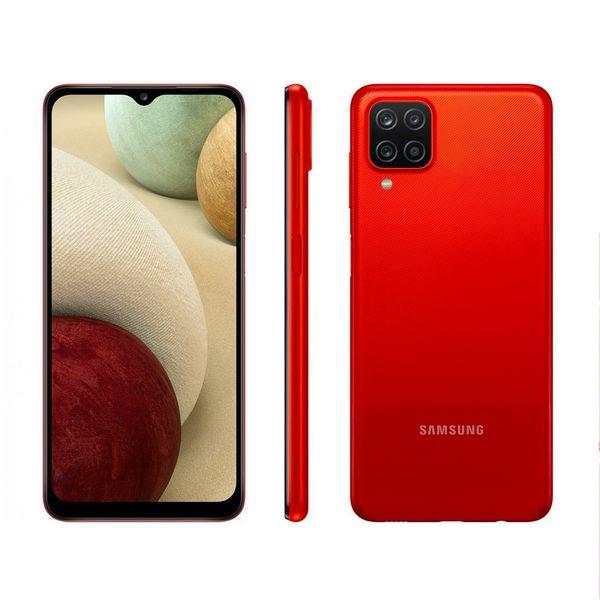 "Smartphone Samsung Galaxy A12 Vermelho 64GB Tela 6.5"""