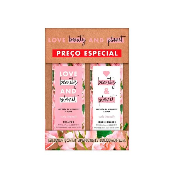 Kit Shampoo + Condicionador LOVE BEAUTY AND & PLANET Manteiga de Murumuru & Rosa 300ml