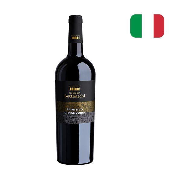 Vinho Tinto Italiano Manduria MASSERIA Settearchi Primitivo Garrafa 750ml